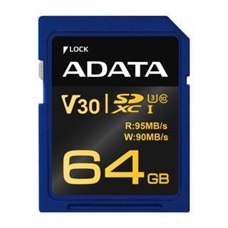 ADATA SDXC karta 64GB Premier Pro UHS-I U3 Class10 V30G 95/90MB/s