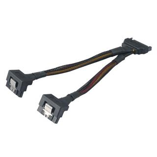 AKASA kabel SATA power splitter, 15 pin male na 2x 15 pin female, 15cm