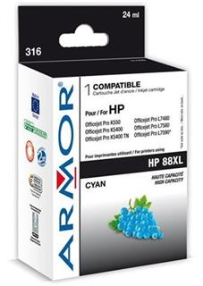 ARMOR cartridge pro HP 88XL Officejet K550 cyan HC, 20 ml, (C9391A) - alternativní