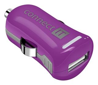 Connect IT InCarz COLORZ nabíječka do auta 1xUSB 2,1A, fialový (V2)