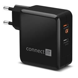 Connect IT InWallz CWC-3010-BK Quick Charge 3.0, 2x USB (3,4A), černý