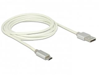 Delock Data and Charging Cable USB 2.0 Type-A male > USB 2.0 Micro-B male with textile shielding white 200 cm