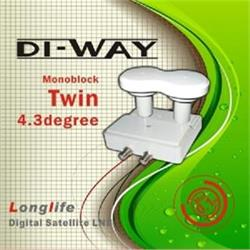 DI-WAY LNB TWIN MONO 0,1dB 4,3 st