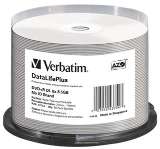 DVD+R Verbatim 8,5 GB DL 8x WIDE Profesional Thermal Printable 50-cake NON-ID