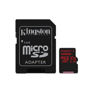 KINGSTON micro SDXC 128GB Canvas React micro SDXC UHS-I V30 (čtení/zápis: 100/80MB/s) + SD adaptér