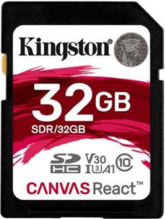 KINGSTON SDHC 32GB Canvas React UHS-I V30 (čtení/zápis: 100/70MB/s)