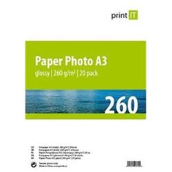 Print IT papír Photo A3 260g/m2 Glossy 20pck/BAL