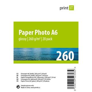 Print IT papír Photo A6 260 g/m2 Glossy 20pck/BAL