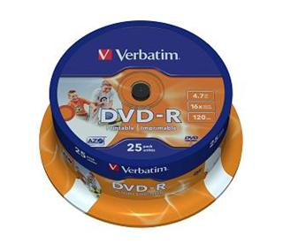 Verbatim DVD-R 4,7GB 16x Printable spindl 25 ks