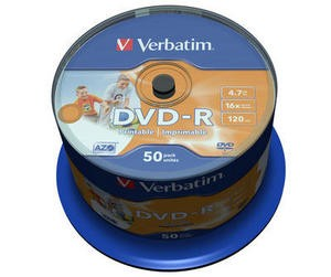 Verbatim DVD-R 4,7GB printable 16x SPINDL (50pack)